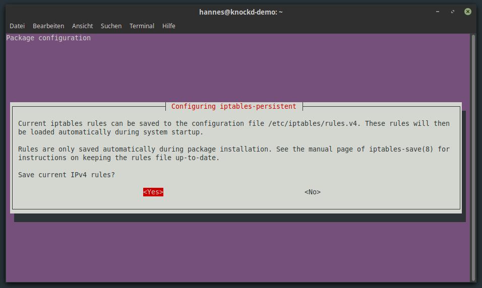 iptables-persistent IPv4 Konfiguration