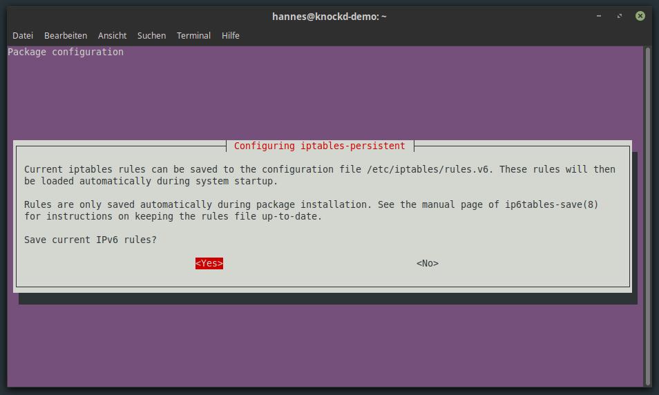 iptables-persistent IPv6 Konfiguration